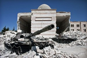 SYRIA tank in rubble
